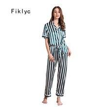 Ficlyc conjunto de pijama feminino, roupa íntima manga curta cetim calças compridas