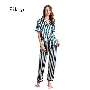 Image 1 - Fiklyc ropa interior de manga corta para mujer, juego de pijama de satén, pantalones largos, hermoso uso en interiores
