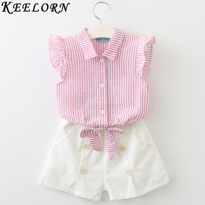 Keelorn Girls Clothing Sets 2017 Summer Fashion Style Kids Clothes Sleeveless Striped T-shirt + Plaid shorts 2Pcs Suit Kids