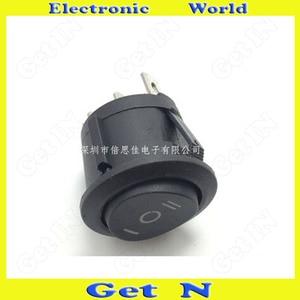 100 шт. KCD1-105 6A/250В 23*20 мм Клавишные переключатели 3P 3 файла питания круглый кнопочный переключатель Черный