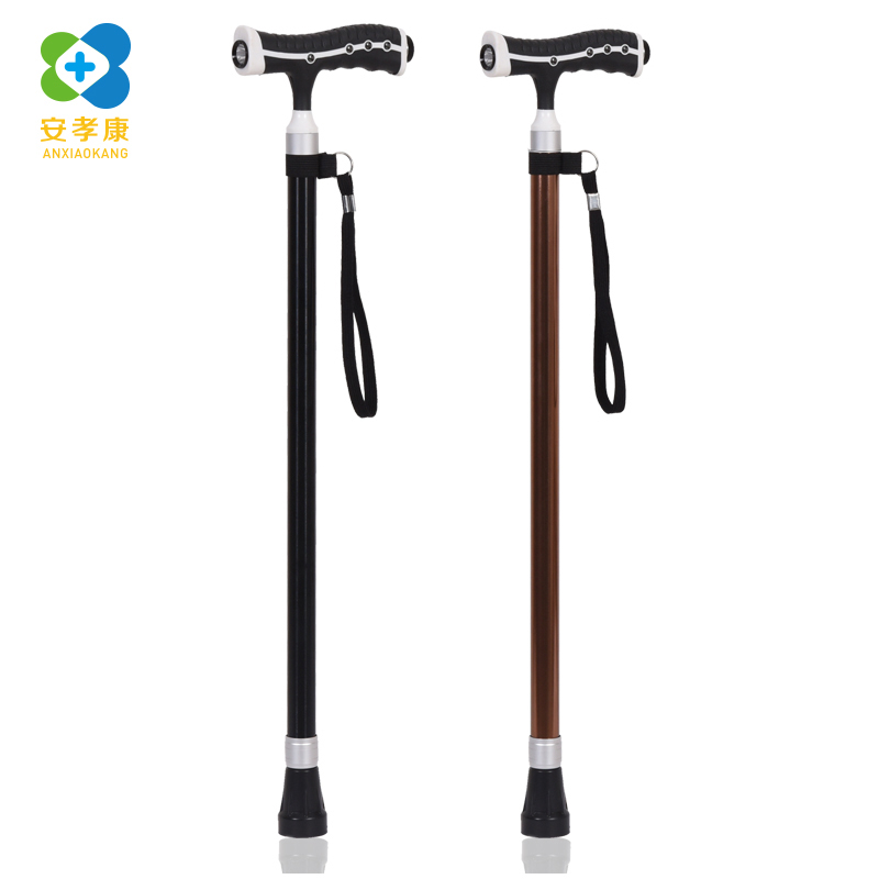 ANXIAOKANG Safe Reliable Old Man Crutches Retractable Massage Led Light T Handle Cane Tips for Poles Walking Stick for Elderly