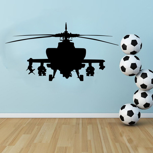 Large Army Helicopter AH-64 Apache mual, Lounge decor Wall Art,kids room wall Sticker free ship