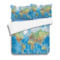 World Map Geography Bedding Set Vivid Printed Blue Black Bed Duvet Cover with Pillow Covers Soft Cozy Twin/ Queen/ King 3 Pcs