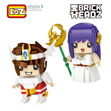 LOZ Saint Seiya Athena Saori Kido Action Figure Toys 8cm Bronze Saint Pegasus Mini Blocks Brick Headz 1459 1460 Gift Japan Anime