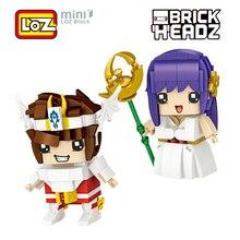 LOZ Saint Seiya Athena Saori Kido zabawki figurki akcji 8cm brąz Saint Pegasus mini klocki cegły Headz 1459 1460 prezent japonia Anime