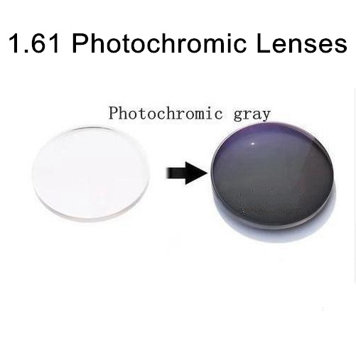 1.61 lentilles photochromiques asphériques lentilles de lunettes de soleil avec degré de vision unique lentilles RX photogrises de prescription pour la myopie