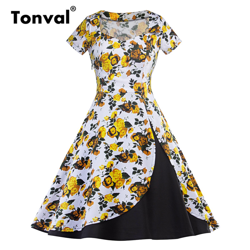 Tonval Elegant Yellow Flowers Dress Retro Women Short Sleeve Vintage Floral Dresses Hepburn Style Cotton Swing Dress