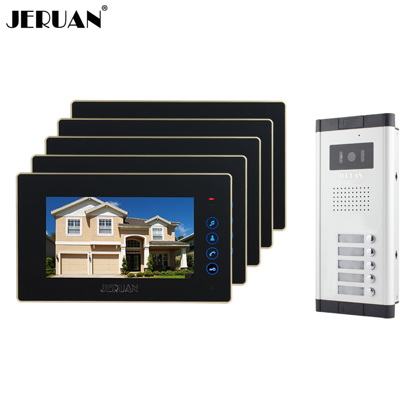 JERUAN Brand New Apartment Intercom 7 inch LCD Touchkey Video Door Phone Doorbell intercom System for 5 house 1V5 FREE SHIPPING 6pcs carbide tip tct drill bit set stainless steel hole saw cutter for metal alloy drilling tool 22 65mm