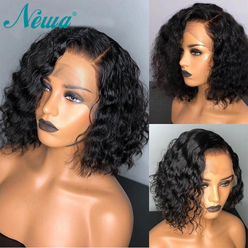 Newa Hair Full Lace Human Hair Wigs Pre Plucked 150% Water Wave Full Lace Wigs With Baby Hair Brazilian Remy Hair Short Bob Wigs