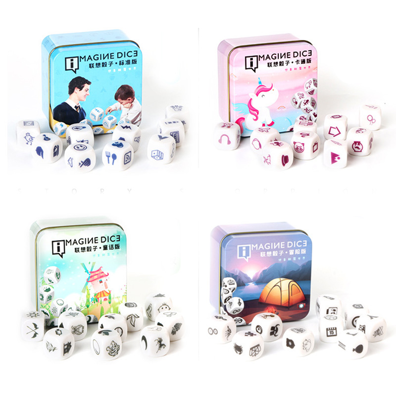 DIY Telling Story  Dice Game Story Metal Boxes Family/Party/Friends Parents With Children Funny Imagine Magic Toys