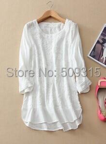 f9d8e623a31242 Wiosna/lato 2015 100% bawełna haft bluzki damskie długie koszule koszule  marki białe sukienki