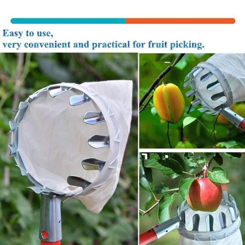 New Metal Fruit Picker Convenient Fabric Orchard Gardening Apple Peach High Tree Picking Tools