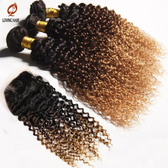 Ombre Бразильские Волосы Девственницы странный вьющиеся волосы с закрытием Бразильский Ombre Девы Волос Бразильские Человека Пучки Волос