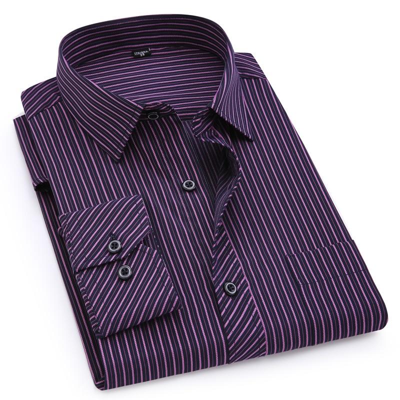 Plus Large Size 8XL 7XL 6XL 5XL 4XL Mens Business Casual Long Sleeved Shirt Classic Striped Male Social Dress Shirts Purple Blue 5