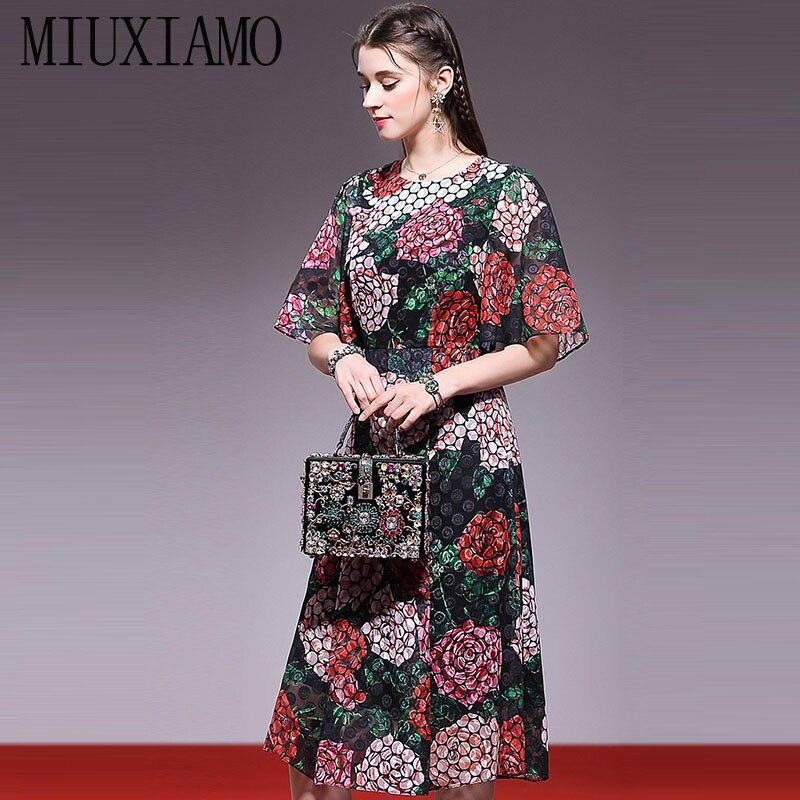 Fiore Vestido Eleghant Primavera Delle 2019 E Di Lusso Stampa Estate Della Donne Del Miuximao Alta Casual Qualità Vestito xotdhQrBsC