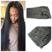 cheap 7a virgin brazilian yaki straight clip in human hair extensions remy human hair clip on weave color natural black