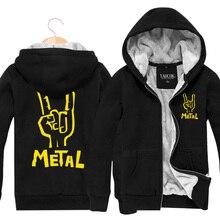 Fashion 2015 New Thick Warm Winter Zip Sportswear Black Metal Rock Band Cardigan Plus Velvet Jacket Mens Hoodies And Sweatshirt