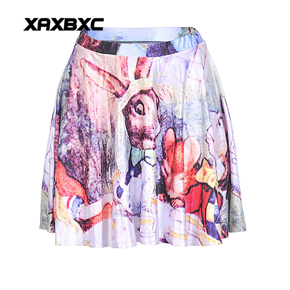 NEW 1223 Summer Sexy Girl Comic Alice in Wonderland rabbit Printed Cheering Squad Tutu Skater Women Mini Pleated Skirt Plus Size