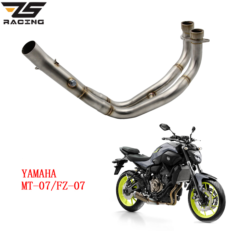 ZS Racing Motorcycle Exhaust Muffler Mid Connect Refit Motorbike Middle Pipe Exhaust Case For Yamaha MT-07 MT07 FZ-07 FZ07 dirt bike racing motorcycle exhaust pipe middle muffler exhaust pipe for yamaha yzf r1 yzf r1 2009 2010 2011 2012 2013 2014