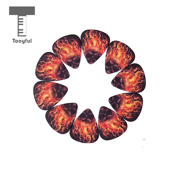 Tooyful High Quality 10Pcs Flame Celluloid Guitar Picks Plectrum 0.72mm for Electric Acoustic Guitar Lover Necessary Accessories