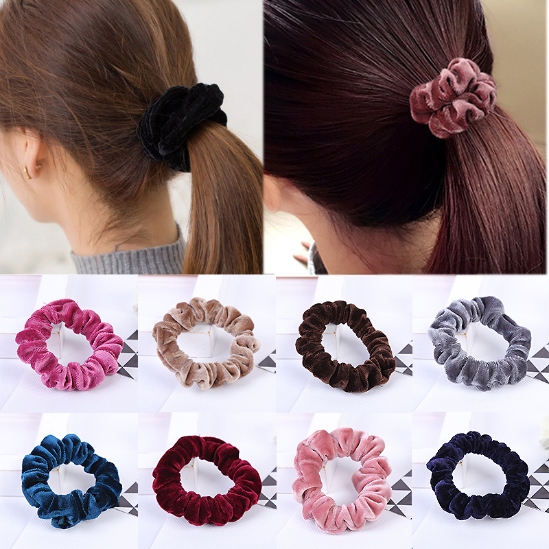 1PC Hot Sale Solid Velvet No Crease Women Promotional Elastic Hair Ropes Hair Accessories 10Colors