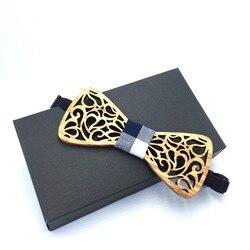 Ручная работа из полой древесины модные галстуки-бабочки для мужчин свадебные костюмы деревянная бабочка-бабочка форма Bowknots Gravatas узкий гал...