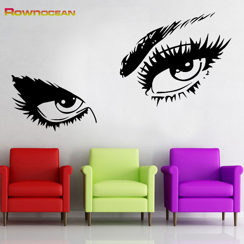 Rownocean beautiful girl eye home decor stickers on the - Beautiful wall stickers for living room ...