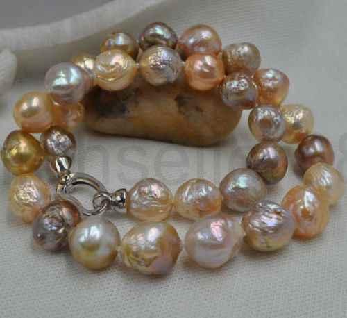 MAGNIFIQUE! Naturel Rare multicolore 12-14mm Kasumi collier de perles 18