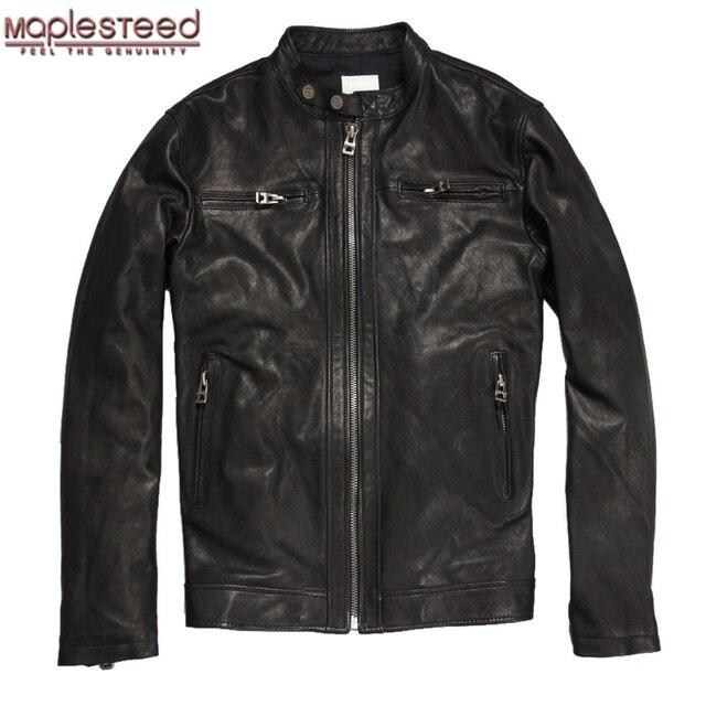 4cd4f09921b MAPLESTEED Brand Men s Leather Jacket Men Soft Matte Goat Skin Coat Black  Male Genuine Leather Jackets Autumn Plus Size 6XL M031