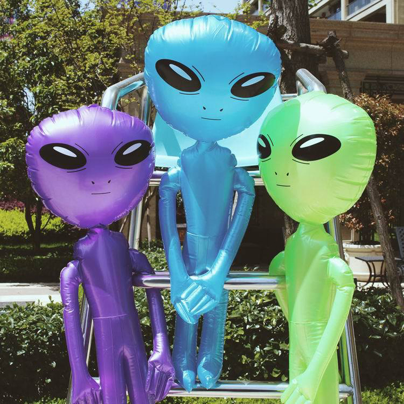 85cm / 160cm / 180cm / 220cm Giant Alien Model Grøn Lilla Blå ET Kids Voksen Oppustelige Legetøj Halloween Cosplay Party Supply Blow Up