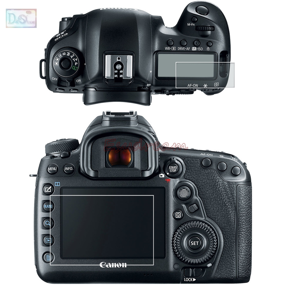 Self-adhesive Glass / Film Main LCD + Info Shoulder Top Screen Protector Guard Cover For Canon EOS 5D Mark IV MK4 5D4