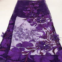 3D Flower French Lace Fabric Purple Lace Fabric For Wedding Dress High Quality Nigerian Bead Tulle Mesh Lace Fabric QF2274B 2