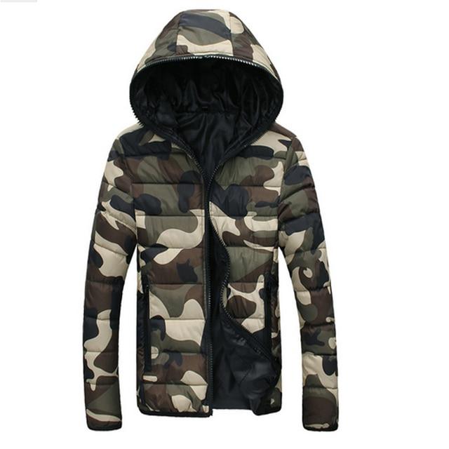 Homens Jaqueta de Camuflagem de inverno Casal Homens Parka Casaco 2017 Nova Marca de Roupas Homens Jaqueta de Inverno Zipper Doudoune Hiver Homme Marque
