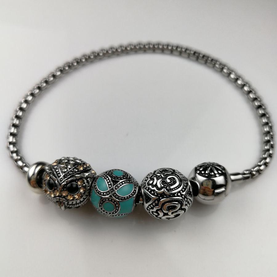 Thomas Bead Bracelet With OM Owl Blue Cloisonne Beads, Rebel Heart Style Bracelet For Men TS KB366