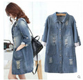 New Arrival Plus Size Womens Spring And Autumn Long Sleeves Casual Long Denim Trench Loose Hole Cardigan Jeans Windbreaker S2403