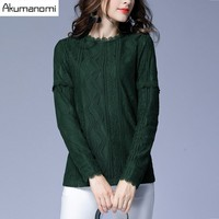 Autumn Winter Lace Blouses Black Green Lace Stand Collar Full Sleeve Women's Clothes Spring Tops Shirt Outwear Plus Size 5XL 4XL
