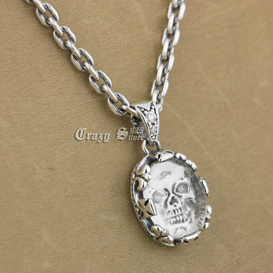 925 Sterling Silver White CZ Skull Mens Biker Pendant 9S111A 92.5% Sterling Silver Necklace 24 inches solid 925 sterling silver skull mens biker pendant 8c011 with matching stainless steel necklace