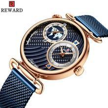 REWARD 2019 Hot Brand Luxury Multi-time Zone Double Movement Ultra-thin Waterproof Business Steel Strap Men Watch reloj hombre rock zone ultra