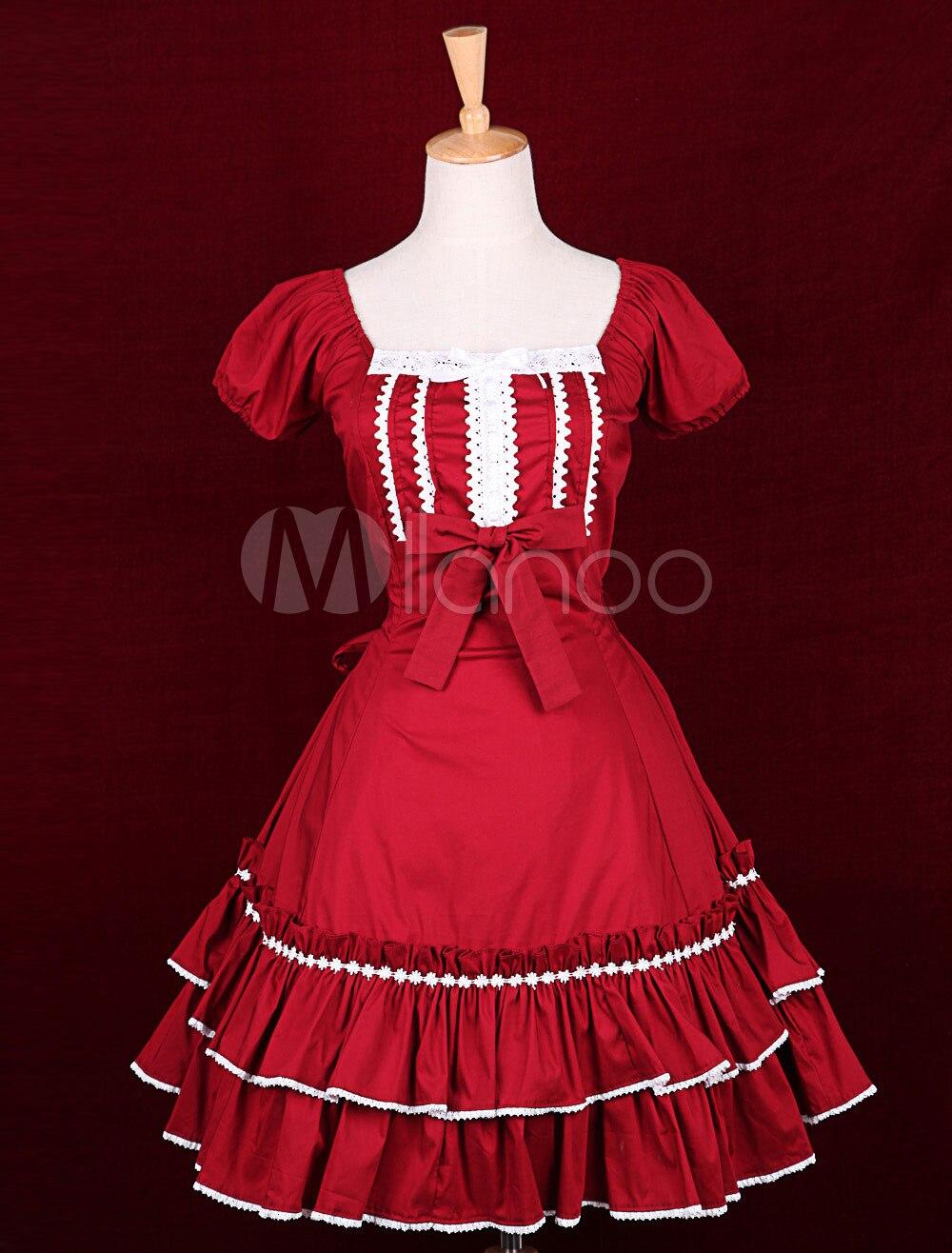 Robe Lolita classique en coton rouge à col carré et manches courtes
