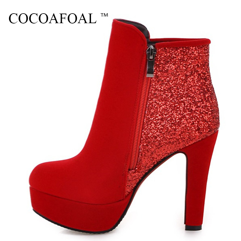 COCOAFOAL Women's Bling Wedding Ankle Boots Autumn Winter Plus Size 43 High Heeled Shoes Sexy Metal Decoration Martin Boots 2018