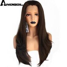 Anogol yüksek sıcaklık Fiber koyu kahverengi 150% yoğunluklu saç uzun doğal dalga sentetik dantel ön peruk siyah kadınlar için