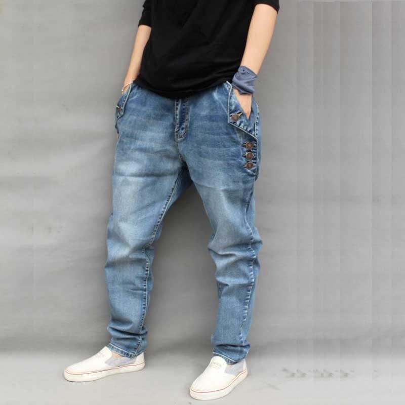 3ff06c29ee Yehan holgados de los hombres Harem Jeans Plus tamaño pantalones Vaqueros  de los hombres con botones suelta Hip Hop pantalones Vaqueros Hombre Denim  m 6XL ...