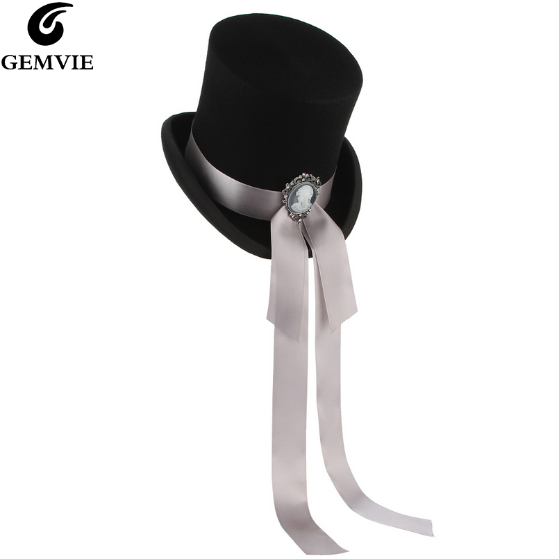 GEMVIE High Cylinder Hat With Goddess Ribbon 100 Wool Felt Top Hat For Women Men Classical