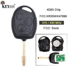 KEYECU 315/433 mhz 4D63 Chip FCC: KR55WK47899 3 Substituição Botão do Controle Remoto Fob Chave Do Carro para Ford Transit Connect EUA mercado FO21