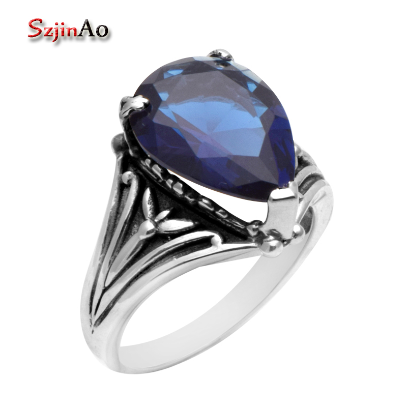 Szjinao Fine Jewelry Victoria Antique Jewelry Sapphrie Wedding Ring 925 Sterling Silver Rings for Women