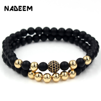 Fashion 2PCS/Set 6mm Black Matte Stone Copper Bead Bracelet Elastic Rope Bead CZ Ball,Leopard,Skull,Crown Bracelet For Men Women