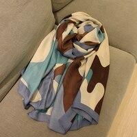 Camouflage blu Camouflage protezione solare delle donne sciarpa di seta di aria condizionata capo decorazione sciarpa