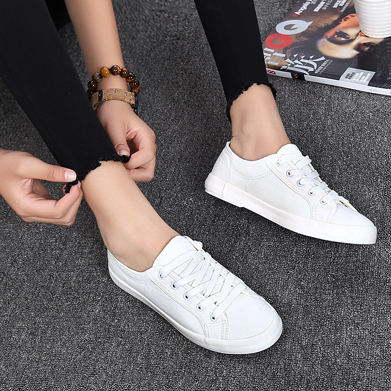 Casual Women's Vulcanize Shoes Lace-Up Solid Female Fashion Walking Ladies Canvas Shoes Flat Footwear Women Summer Shoes CLD901 e lov women casual walking shoes graffiti aries horoscope canvas shoe low top flat oxford shoes for couples lovers