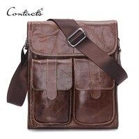 2016 New Genuine Leather Men Bags Fashion Brand Designer Handbags Shoulder Vintage Retro Cow Bags