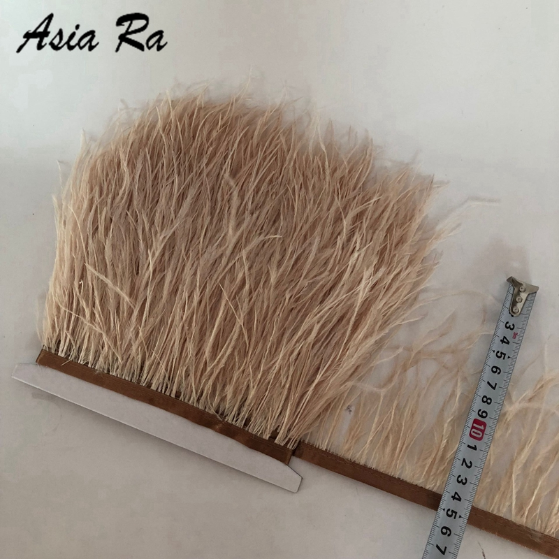 Wholesale 10meters lot Champagne perfect natural ostrich feathers trims ribbon 10 15cm 4 6inches wedding decorations